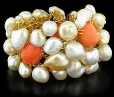 Margot McKinney Coral and Keshi Pearl Bracelet Cayen Collection
