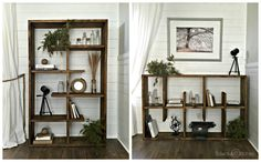 This Crate and Barrel inspired shelf is perfect for any space, literally!  Whether you need to fill a wide space or a tall space, this unit has you covered. It is designed so that is can be rotated to fit your space needs.