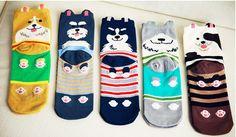 Women Brand new cute cartoon socks cotton sock in tube socks free shipping fashion animal prints 5pairs/lot