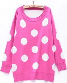 Hot Pink Polka Dot Pullover Sweater ...cute!