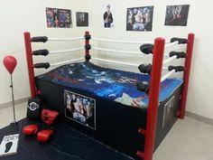 Wwe Bedroom, Army Bedroom, Room Ideas Bedroom, Boys Room Decor, Bedroom Themes, Boy Room, Kids Bedroom, Kids Rooms, Wrestling Ring Bed