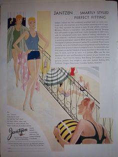 1930 Vintage Jantzen Smart Styled Perfect Fitting Swimsuit Women Men Fashion Ad