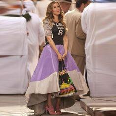 Cheap Costura asimétrica faldas de Color del satén púrpura alto bajo piso longitud de la falda Sex and the City actriz, Compro Calidad Faldas directamente de los surtidores de China: