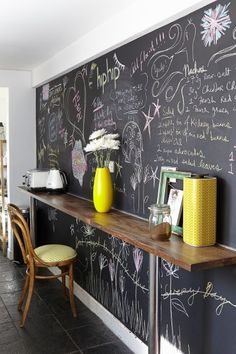 The kitchen chalkboard is handy for recipes and reminders.