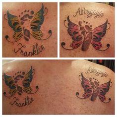 Baby footprint butterfly tattoo