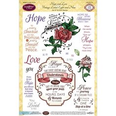 """Hope and Love Vintage Labels Eight and Nine - $8.99 Hope and Love Vintage Labels Eight and Nine by JustRite are a set of clear stamps featuring love, encouragement and birthdays along with a couple of florals. So pretty! Clear stamps-Set of 18. Sizes    Largest - 3 1/2"""" x 4"""",  Smallest - 1/4"""" x 3/16"""". Works with Acrylic Blocks."""