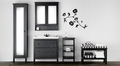 I love the HEMNES line and we already have some. Didn't realize they had it for the bathroom! LOVE IT!!!!  Water-resistant HEMNES bathroom furniture in black brown.  Ikea.