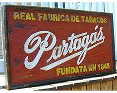 Cuban Partagas Factory Sign - Unique, Solid Wood, Handmade - 40 x 22 x 2 1/2
