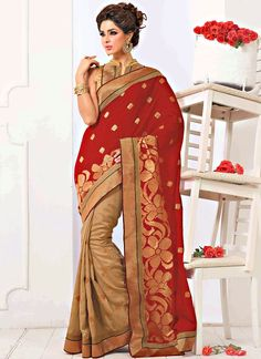 Shop this product from here.. http://www.silkmuseumsurat.in/lovely-red-and-desert-colour-bhagalpuri-saree?filter_name=4274  Item :#4274  Color	 : Beige, Red Fabric	 : Faux Georgette Occasion	 : Bridal, Party, Reception, Wedding Style	 : Half n Half Saree Work	 : Embroidered, Patch Border, Printed