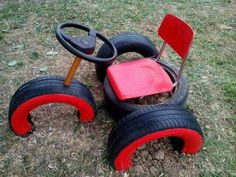 That's a cool way to turn old tyres into fun play equipment