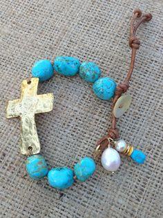 Hammered Sideways Cross, Turquoise Blue Magnesite Bracelet, Boho, Chunky, Sundance