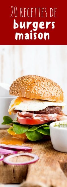 Homemade beef burger with fried egg, vegetables, onion rings and coffee cups on. by Anna Ivanova - Photo 158649567 - Homemade Beef Burgers, Loose Meat Sandwiches, Burger Mania, Burger And Fries, Delicious Burgers, Hamburger Recipes, Sweet Breakfast, Grilling Recipes, My Favorite Food