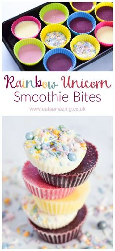 Yummy and healthy rainbow unicorn smoothie bites - a great way to use up your leftovers to make a fun summer snack for kids - Eats Amazing UK