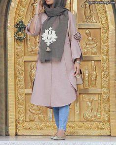 مانتو دخترانه نشکافه ای رنگ Street Hijab Fashion, Workwear Fashion, Abaya Fashion, Muslim Fashion, Skirt Fashion, Fashion Dresses, Beautiful Casual Dresses, Iranian Women Fashion, Hijab Fashionista