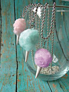 Miniature Food Jewelry Cotton Candy Necklace in Blue Carnival Circus or Fair Jewelry Spun Sugar