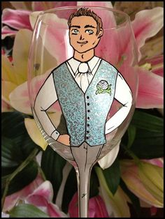 Personalized Hand Painted Wine Glass goblet  Flute by AlenaShop, $32.00 groom wedding usher best man hen partu ideas idea