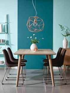 wandfarben kombinieren blaunuancen esszimmer toller leuchter