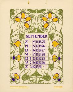 Bloem en blad (Flower and leaf). Vintage Calendar, Art Calendar, Calendar Girls, Calendar Pages, Calendar Design, Old Paper, Paper Art, Art Nouveau Tiles, Art Deco