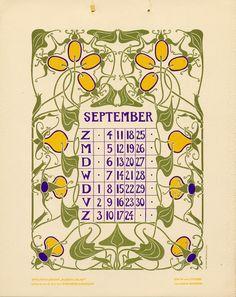 Anna Sipkema, illustrator (1877-1933). September. Bloem en blad (Flower and leaf). 1904. Dutch calendar.