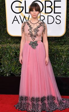 Felicity Jones from 2017 Golden Globes Red Carpet Arrivals  In Gucci