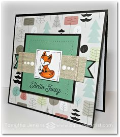 """June Stamp of The Month """"Hello Foxy"""" with """"Jack"""" paper, a perfect combo"""