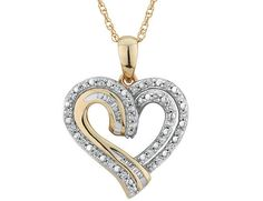 Diamond Heart Pendant Necklace 1/4 Carat (ctw) in 10K Yellow Gold with Chain