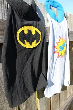 I remember watching old reruns of the original Batman episodes on TV when I was little and wondering why anyone would want to prance around . Superhero Capes, Superhero Birthday Party, Superhero Ideas, Boy Birthday, Superhero Cape Pattern, Spiderman, Old Sweatshirt, Felt Patterns, Crafty Kids
