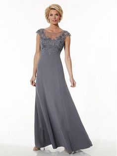 aecf10a257 A-Line Illusion Neckline Cap Sleeves Lace and Chiffon Mother of The Bride  Dresses 5701012