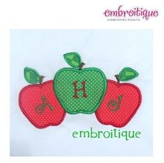 Back To School Apple Monogram Blank - 3 Sizes! | Font Frames | Machine Embroidery Designs | SWAKembroidery.com Embroitique