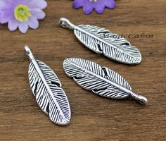 20pcs-- Antique Tibetan silver / bronze Feather Charms,Feather Pendant, Bird Feather,Jewelry Making Findings,9x30mm