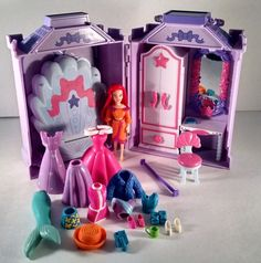 Disney Princess Polly Pocket with Ariel Home Playset Lots Of Clothes and shoes #DollswithClothingAccessories