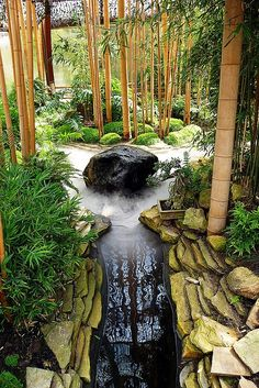 Zen garden with bamboo pond. Calmed uplifted.