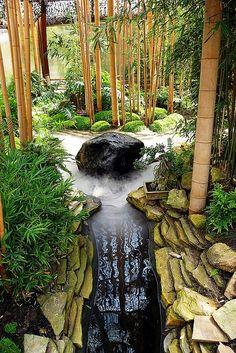 zen garden with bamboo & pond                                                                                                                                                                                 Mais