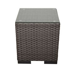 Make a statement in your outdoor space with the Atlantic Modena Grey Synthetic Wicker Side Table. This table combines form and function to bring you a stylish piece of accent furniture that holds its weight as a place to keep books, magazines and drinks.