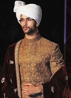 Two couturiers illustrating the parallel faces of Indian fashion bring the curtain down at Delhi Couture Week Sherwani Groom, Wedding Sherwani, Punjabi Wedding, Indian Wedding Outfits, Indian Outfits, Indian Weddings, Indian Groom Dress, Indian Men Fashion, Groom Fashion