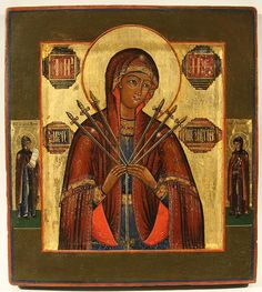 A RUSSIAN ICON OF THE MOTHER OF GOD, SOFTENER OF EVIL HEARTS, CENTRAL RUSSIA, MID 19TH CENTURY, Egg tempera, gold leaf and gesso on wood panel, the icon depicting at center the Mother of God with Seven Swords flanked by Saints Pavel and Ksenia. With raised border kovcheg.  Two insert splints on the back. 33.5 x 30.2 cm (13 1/8 x 11 7/8 in.)