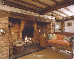 Attractive Inglenook Fireplaces Designs Amazing Ideas Baskets Of Logs In Inglenook Fireplace In Beamed Cottage Living Room With Wicker Sofa And Sisal Cottage Fireplace, Inglenook Fireplace, Open Fireplace, Fireplace Design, Fireplaces, Fireplace Ideas, Stove Fireplace, Cottage Living Rooms, Cottage Interiors