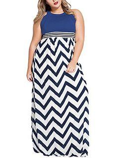 Cfanny Women's Plus Size Halter Neck Zigzag Summer Maxi D... https://www.amazon.com/dp/B01EV65EIQ/ref=blue+dress+plus+size+dress