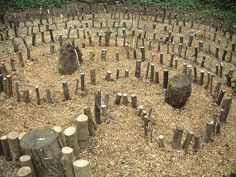 woodland labyrinth at core, via Flickr.