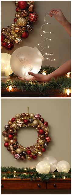 Home Depot: We created these luminous Christmas table decorations using ordinary light fixture globes and battery-powered LED lights. Click through for the materials list. Buy them online, or stop by your local Home Depot store. Noel Christmas, Christmas Projects, Winter Christmas, All Things Christmas, Christmas Lights, Christmas Wreaths, Homemade Christmas, Christmas 2017, Christmas Balls