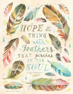 Feathers Art Print   Hope   Emily Dickinson Watercolor Quote   Katie Daisy Wall Art   8x10   11x14