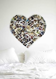 Cocktail Hour Idea: Steal this bedroom decor idea and create a heart of polaroid photos of you and your groom to display on a wall during cocktail hour!