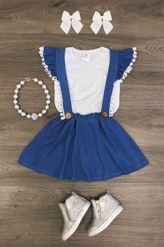 Denim Blue Lace Trimmed Skirt Set ONLY