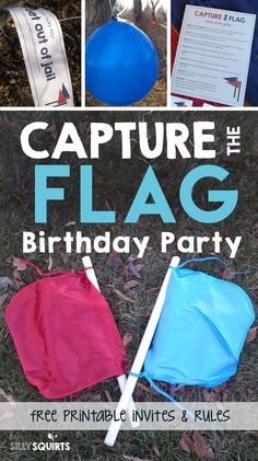 Capture the flag is a surefire hit for any birthday party and we have everything you need to make it a success (free printables included)! Wild One Birthday Party, Birthday Party For Teens, 14th Birthday, Birthday Party Games, Teen Birthday, Birthday Party Invitations, Birthday Ideas, Quince Invitations, Nerf Party