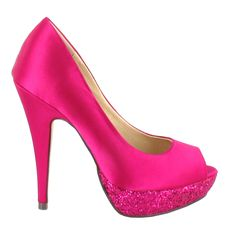Zapato Peep Toe en Rosa con plataforma brillante. Perfecto para ocasiones de fiesta. Ref.5989 //Pink Peep Toe heel with a glittery platform. Perfect for party occasions. Ref.5989