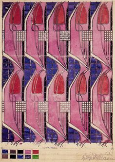 Charles Rennie MacKintosh textile design. Tulip and Lattice, textile design, 1920.