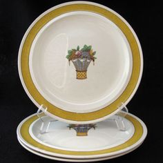 Vintage Wedgwood Directoire Dinner Plate with a Yellow Band and Fruit Center