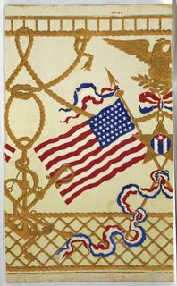 A Sidewall and Frieze piece that was manufactured by W. Campbell and Co. The piece is machine-printed on embossed paper and is part of our Wallcoverings Department. It is dated 1890-1900 and was acquired by the Cooper Hewitt in 1939. #FlagDay