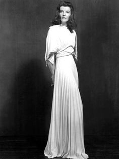 Katharine Hepburn ~ known for wearing trousers at a time when women didn't ~ wore this unforgettable dress in THE PHILEDELPHIA STORY (1940)