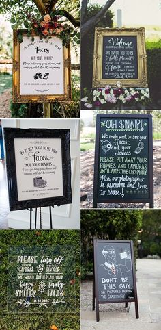 trending wedding sign ideas for unplugged ceremony Wedding Trends, Trendy Wedding, Rustic Wedding, Wedding Ideas, Wedding Bells, Wedding Favors, Wedding Decorations, Wedding Cakes, Wedding In The Woods
